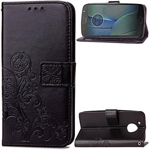 Lomogo Motorola Moto G5S Plus ケース 手帳型 耐衝撃 レザーケース 財布型 カードポケット スタンド機能 マグネット式 モトローラG5SPlus 手帳型ケース カバー 人気 - LOSDA041232 黒