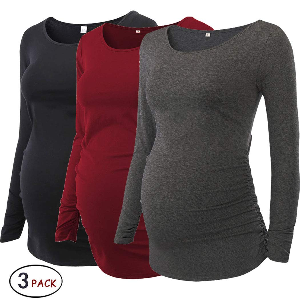 Pack of 3pcsレディースMotherhood MaternityドルマンチュニックトップスMama Clothes Flattering Side Ruching長袖スクープネック B07GQSXR2F Medium|Black/Wine Red/Dark Grey Black/Wine Red/Dark Grey Medium
