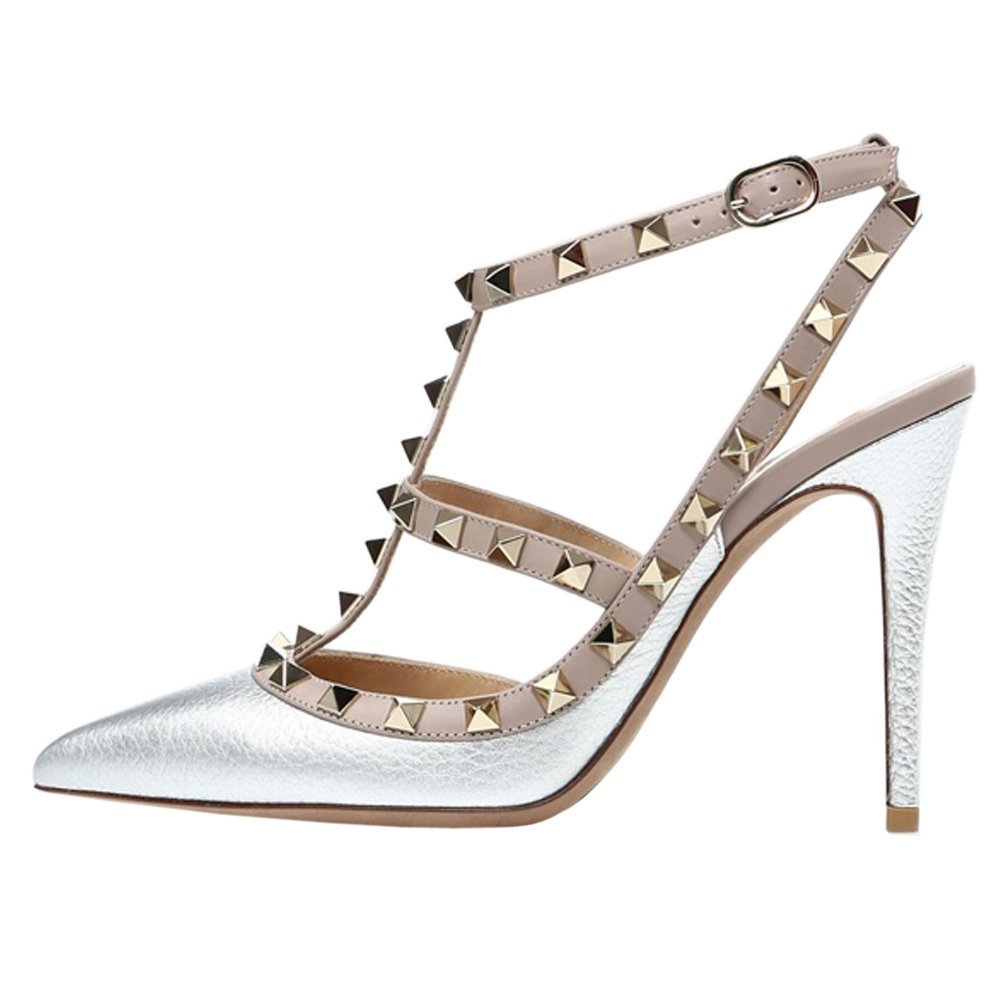 Arc-en-Ciel007 Womens Shoes Studded Stiletto Heel T-Strap Pointed Toe Sandals-Silver-Us9