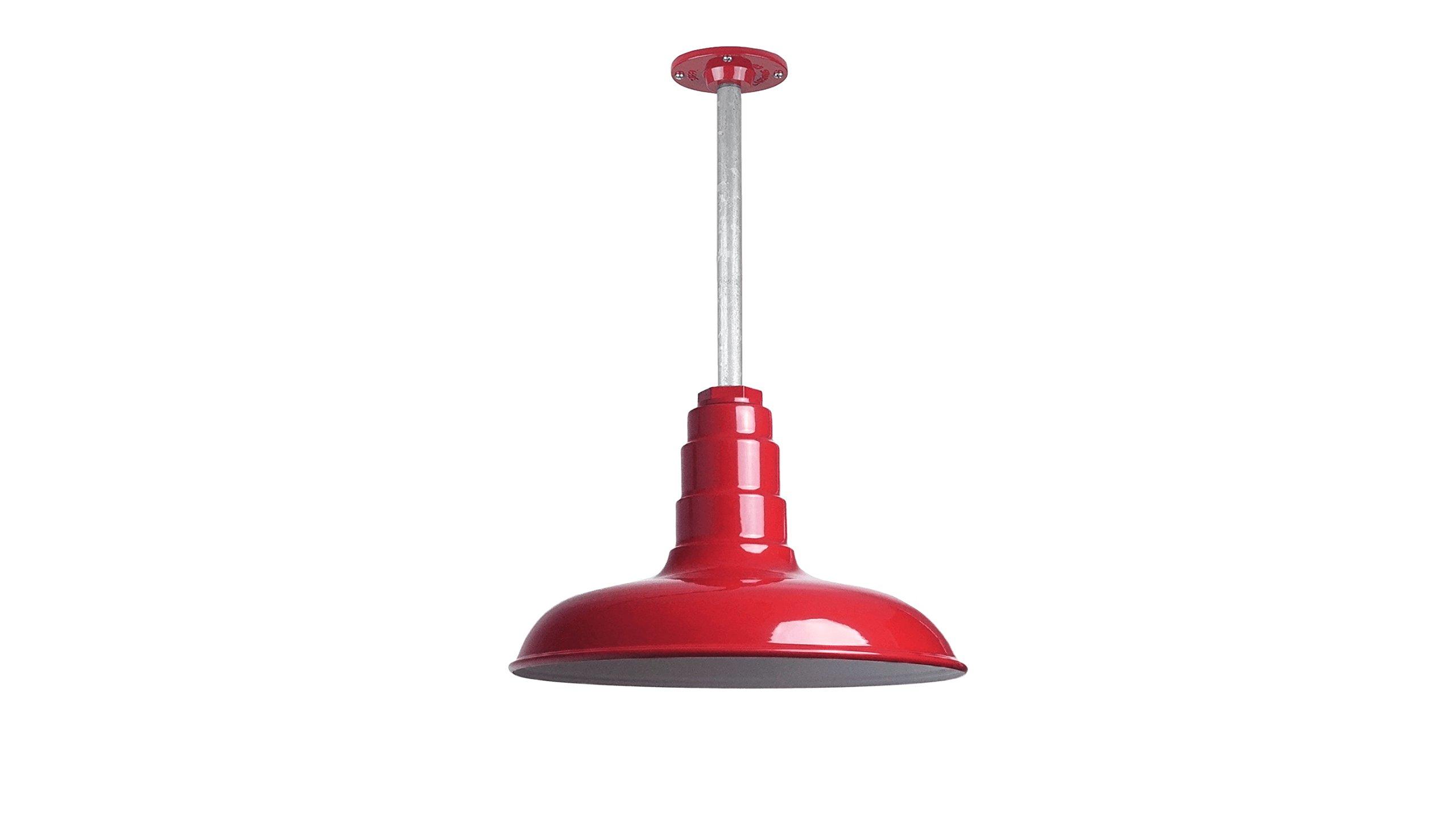 The Malibu Modern Farmhouse Pendant Light | Steel Barn Light with Rigid Stem For Ceiling | Heavy Duty Steel Light | Made in America (Red)