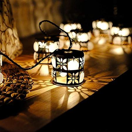 SWQG-Sartén INS Hierro Forjado Cadena Luces, Interiores Y Exteriores For Dormitorio/Jardín/Terraza Festival/Árbol De Navidad De La Vendimia Regalo Navidad Jardín Terraza (Color : 1ack): Amazon.es: Hogar
