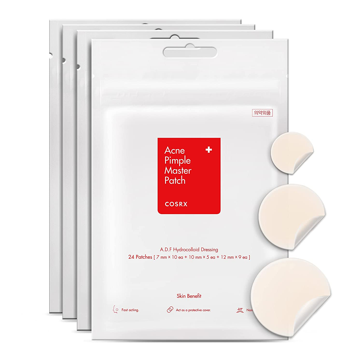COSRX Acne Pimple Master Patch 96 Patches (4 Packs of 24 Patches)   A.D.F. Hydrocolloid Dressing   Quick & Easy Treatment