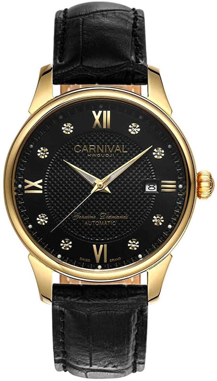 mastopラグジュアリーメンズレディース腕時計本革バンド防水自動機械腕時計ブラック B01EYLZGZ4