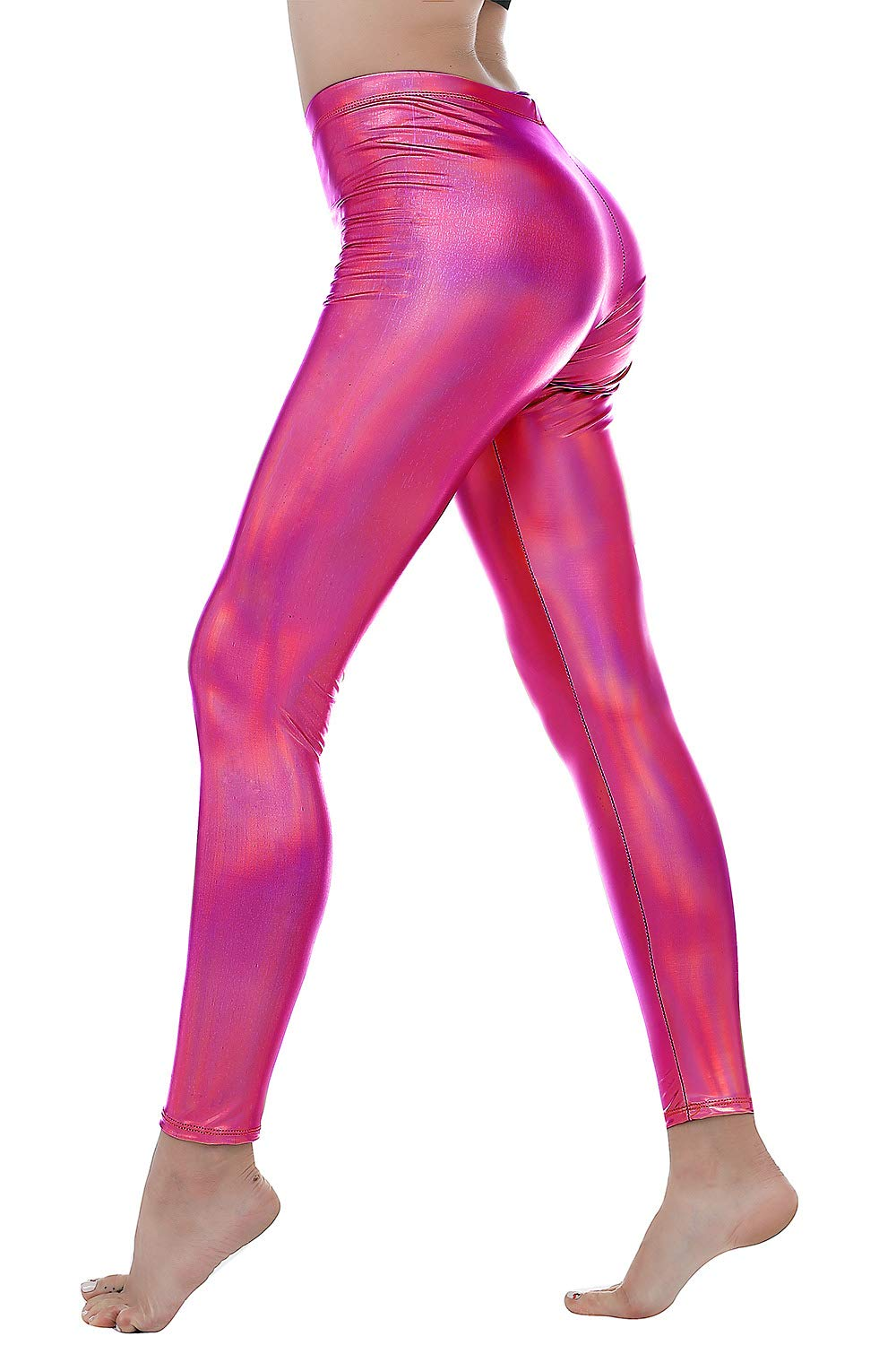 Women Faux Leather Leggings Wet Look Metallic Waist Legging Pants Trousers (Multicolor Rose, XL)