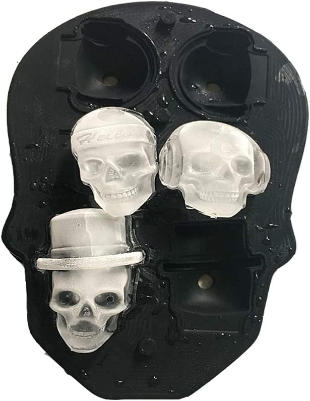 WIFIGDS 6 Holes Skull 3D Silicone Ice Cube Trays with Lid Whisky Cocktail Beer Ice Mold for Halloween Party Drinks - Black