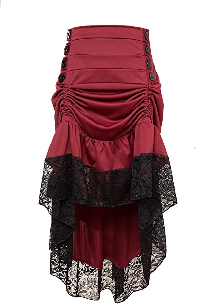 Moonight Adjustable Ruffle High Low Gothic Skirt Plus Size Long Vintage Fishtail Steampunk Corset Skirt Long Dress for Women