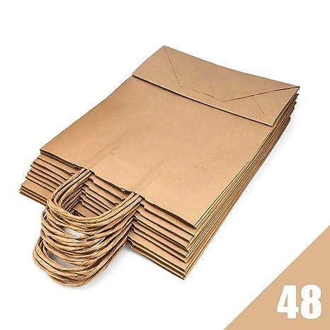 RUBY - Bolsas papel kraft marron con asa rizada, ideal para bodas, cumpleaños, navidad o fiestas, base plana (Talla S, 48 pcs)