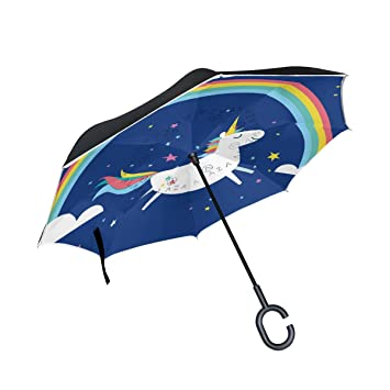 ALAZA Doble Capa invertido Paraguas Coches inversa Paraguas del Arco Iris Unicornio y Prueba a Prueba
