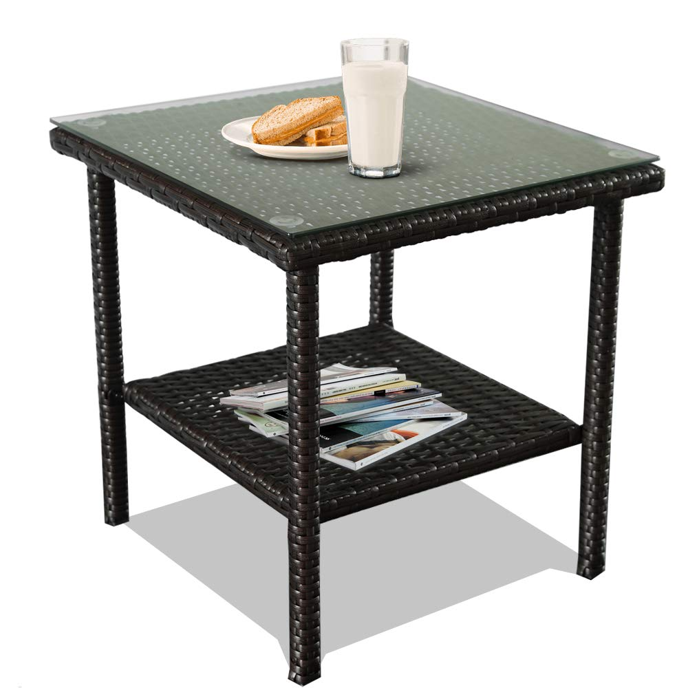 Patio Side Table Coffee Table Tea Table Grey Rattan Outdoor Indoor Square Table Balcony Small End Table