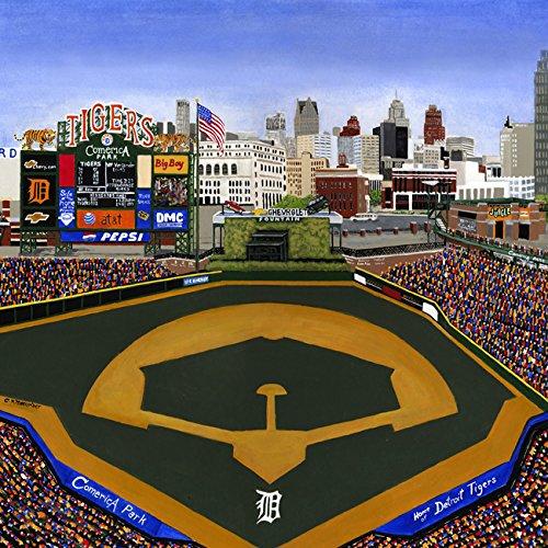 Ceramic Tile Coaster - Detroit Baseball - Detroit Sports Teams - Comerica Park - Sports Team Stadium Series - Ceramic Tile - Ceramic Coaster - Decorative Art Work by Gallery Trio