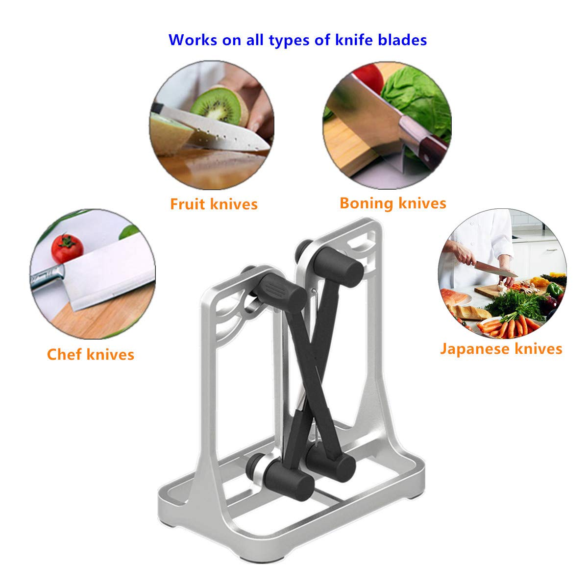 Knife Sharpener As Seen On TV - Upgrade Made of Full Metal Bracket - Sharpens & Hones & Polishes Beveled Blades, Standard Blades, Chef's Knives - Safe & Easy to Use Kitchen Tools by Ehoyal by Ehoyal (Image #4)