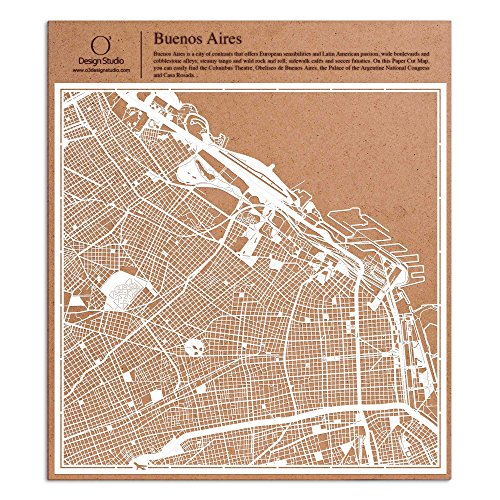 Buenos Aires Paper Cut Map by O3 Design Studio White 12x12 inches Paper Art ()
