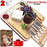 meat and cheese plate - Bamboo Cheese Board w/ Cutlery Set, Wooden Charcuterie Platter, 4 Stainless Steel Knife, 2 Bowl, Wine & Meat Plate w/ Drawer, personalized gifts for Mom, Dad, Women, Wedding, Housewarming, Birthday