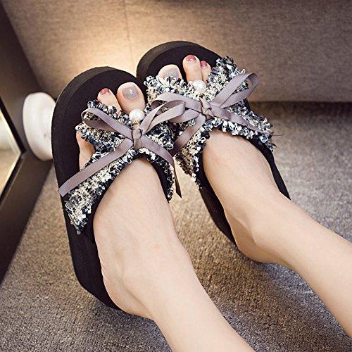 calzado blanda de aire pajarita de FLYRCX grueso fondo dulce antideslizante inferior de moda playa sandalias j al inferior zapatillas clip verano libre damas vqTpqH