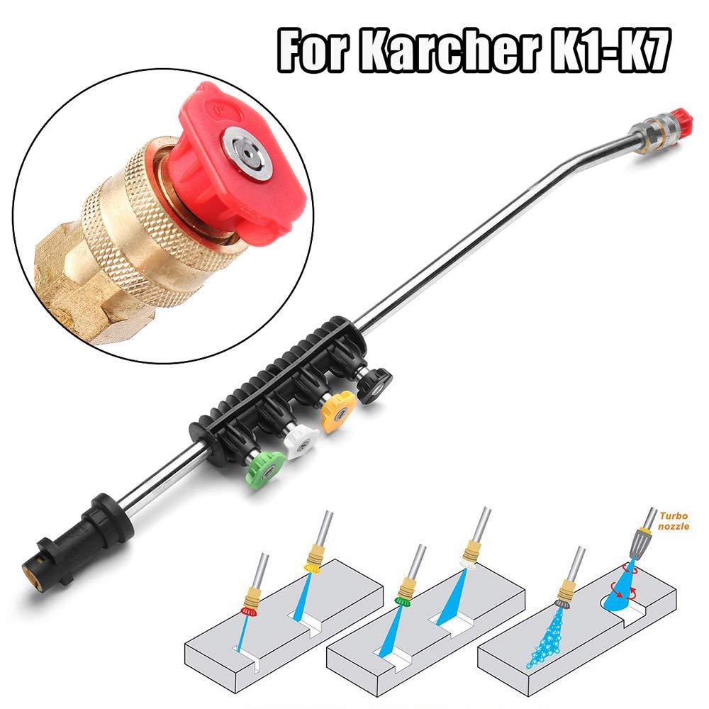 Festnight Lance en m/étal avec 5 Embouts Rapides pour laveuse Haute Pression Karcher K1-K7