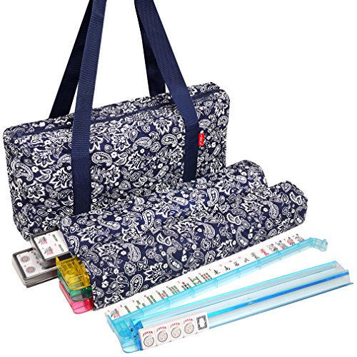 New! - American Mahjong Set by Linda Li8482; - 166 Premium White Tiles, 4 All-in-One Rack/Pushers, Blue Paisley Soft Bag - Classic Full Size Complete Mahjongg -