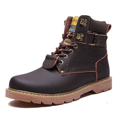FHTD Botas De Nieve Para Hombres Botas De Otoño/Invierno De Cuero Botines/ Botines Amarillo/Café/Marrón: Amazon.es: Ropa y accesorios