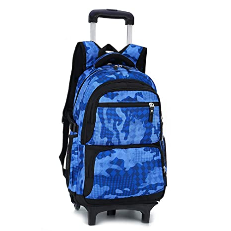 Bolso con Ruedas Mochila Escolar Bolso de la Carretilla Camuflaje del Balanceo Niños(Cielo Azul