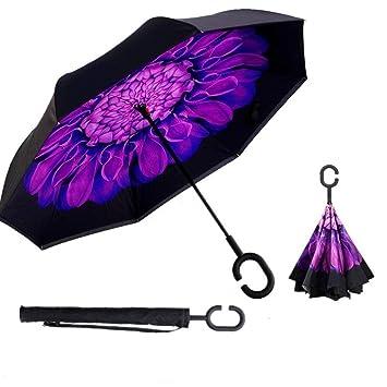 Doble Capa de Paraguas Invertido, Sol y la lluvia Paraguas,Parasol de Protección Contra