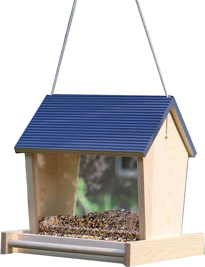 SqSYqz Comedero para pájaros, comedero para pájaros con Ventana, comederos para pájaros al Aire Libre para pájaros Silvestres, pinzón, Cardenal y pájaro Azul