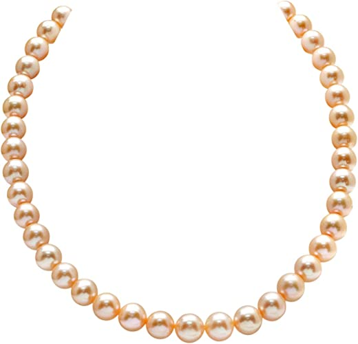 THE PEARL SOURCE 14K Gold 9-10mm AAAA Quality Peach Freshwater Cultured Pearl Necklace for Women in 18 Princess Length