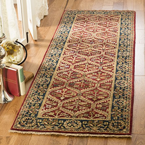 Safavieh Old World Collection OW119A Hand-Knotted Traditional Oriental Red and Navy Wool Runner (2