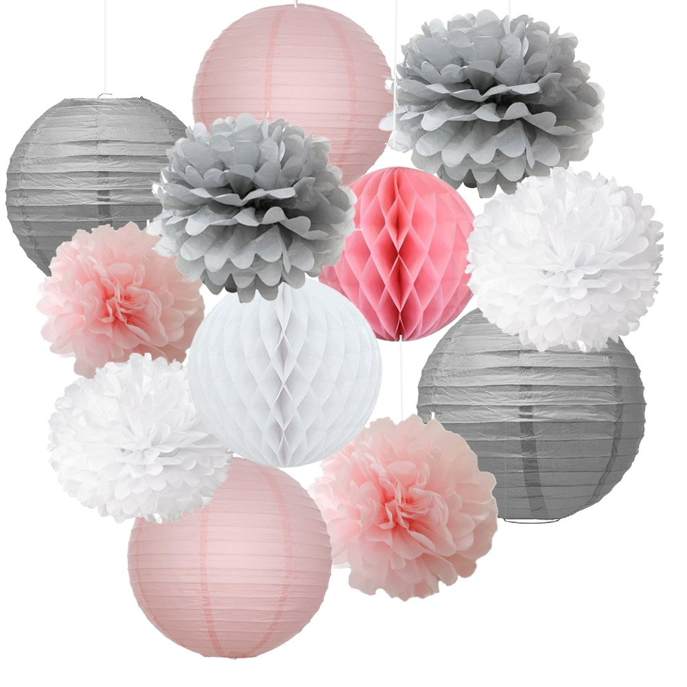 12pcs Mixed Pink Gray White Decorative Paper Pompoms Flower Hanging ...