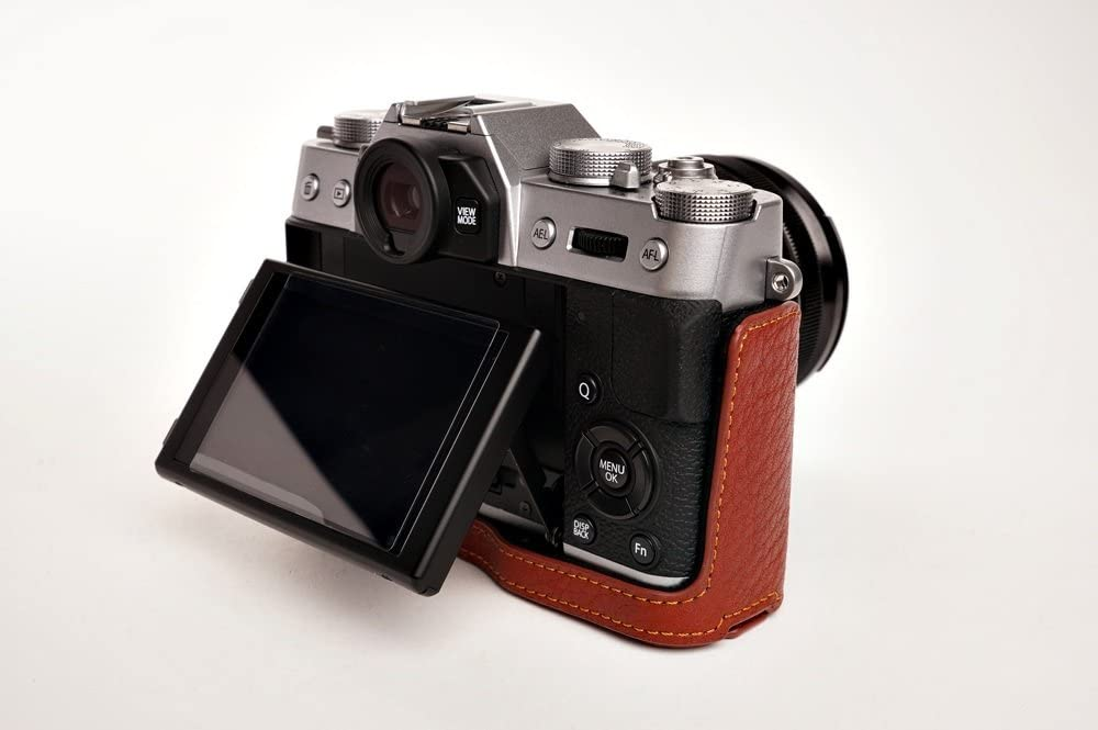 Handmade Genuine Real Leather Half Camera Case Bag Cover for FUJIFILM X-T30 X-T20 X-T10 Brown Bottom Opening Version