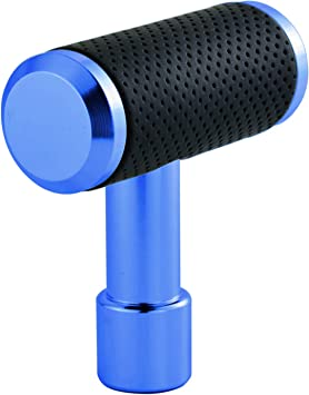 Black and Blue Universal Aluminum Alloy Leather Car Gear Shifter Lever Handle Knob