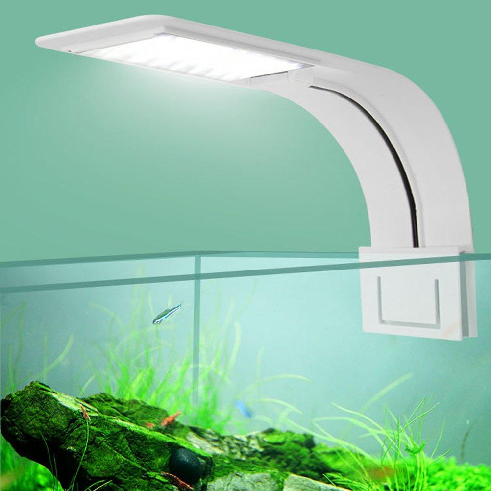 UEETEK Luz del acuario del LED, luz de la lámpara con clip súper delgada con enchufe de la UE para el tanque de acuario (luz blanca): Amazon.es: Productos ...
