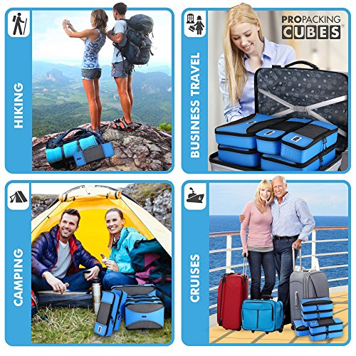 Pro Packing Cubes - 6 Piece Lightweight Travel Cube Set - Organizers and Compression Pouches System for Carry-on Luggage, Suitcase and Backpacking Accessories (Sky Blue) by Pro Packing Cubes (Image #4)