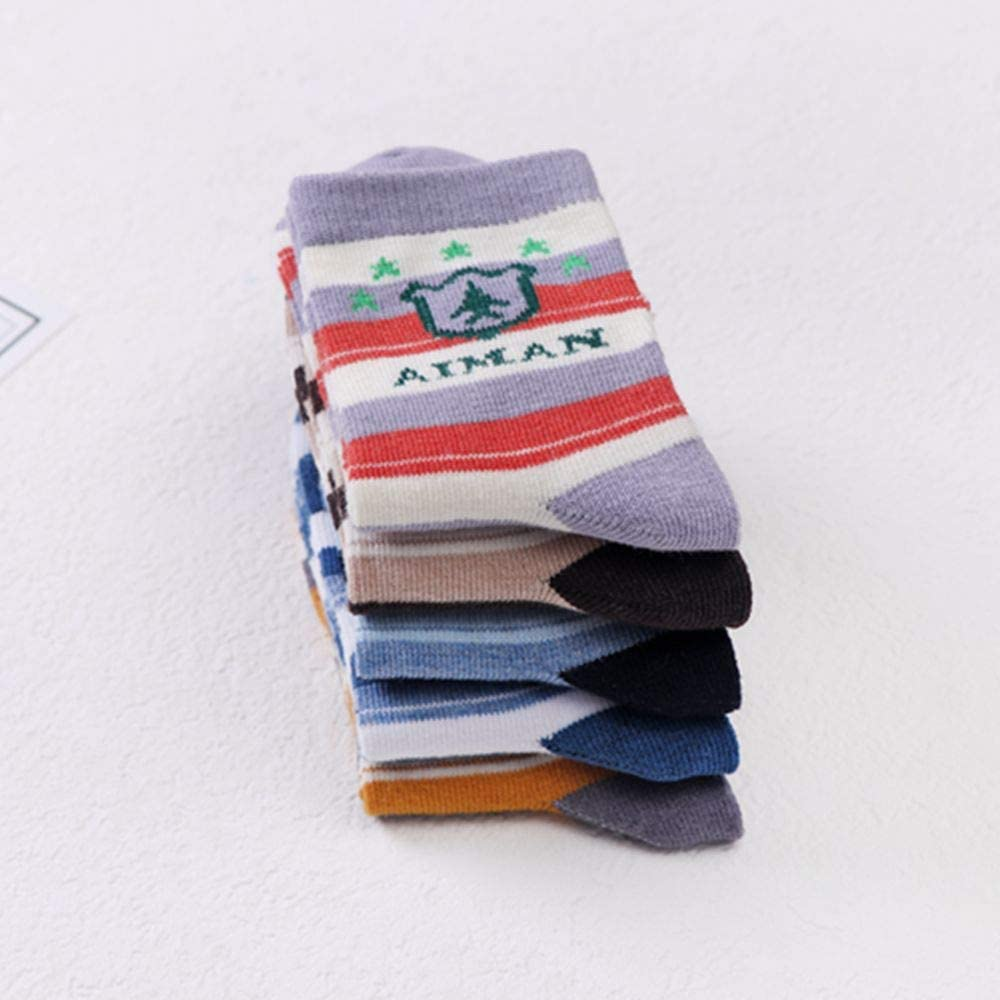 5 Pairs Kids/' Causal Cotton Stockings Car Pattern Comfortable Socks Colorful Middle Tube Socks for Boys and Girls