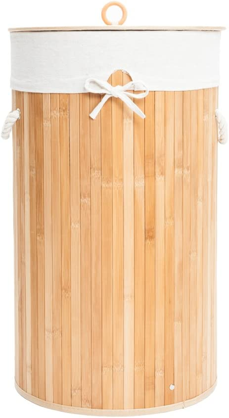 Maogear Folding Cylinder Bamboo Laundry Hamper Basket Dirty Clothes Storage Sorter with Lid & Handles & Removable Liner (Wood Color)