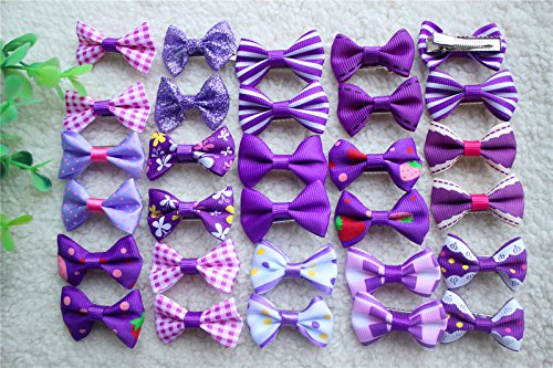 Yagopet 50pcs/25pairs New Dog Hair Clips Choose 6 Colors Mix Varies Patterns Small Bowknot Pet Grooming Products Pet Puppy Hair Bows Dog Accessories (Purple) by yagopet
