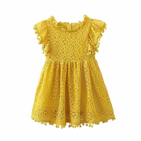 Lenfesh Verano Bebe Niña Florales princesa Vestidos sin mangas de Princesa para Fiesta y Boda (
