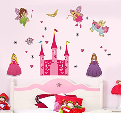 Decals Design 'Disney Princess and Castle' Wall Sticker (PVC Vinyl, 90 cm x 60 cm),Multicolour