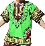 RaanPahMuang Bright Colour Cotton Africa Dashiki Shirt Plus Size Plain Front, XXXX-Large, Bright Green