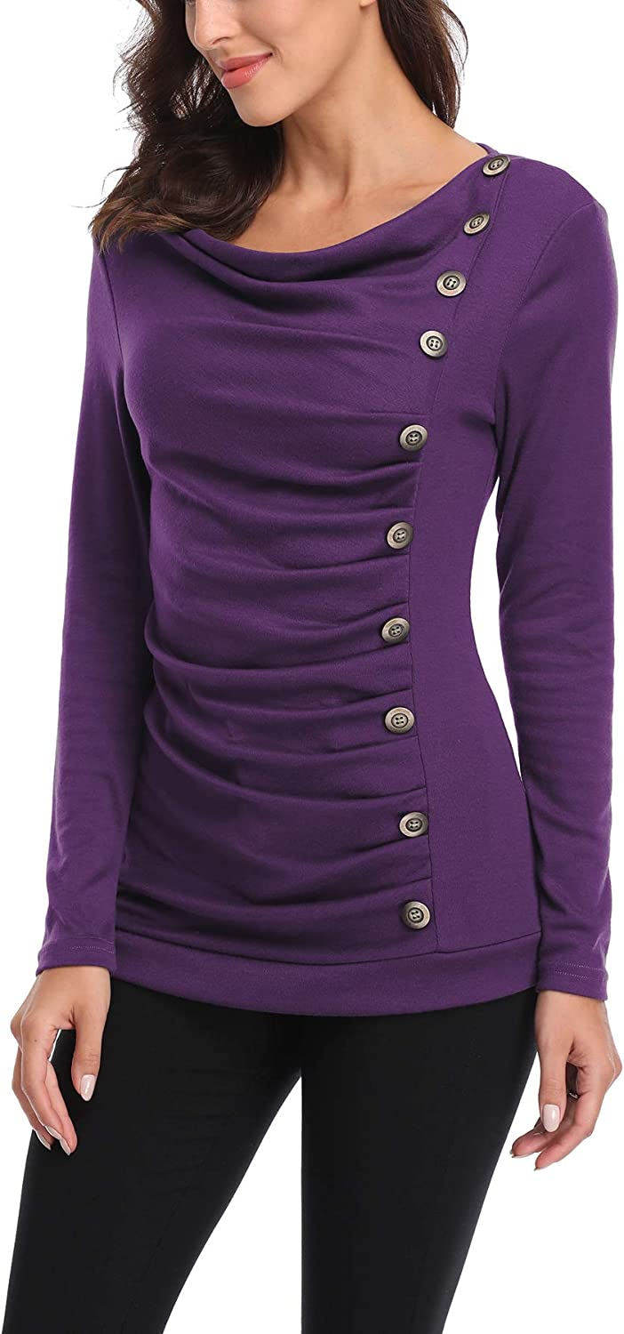 MISS MOLY Womens Long Sleeve Tunic Tops Cowl Neck Blouse Buttons Decor Ruched Front