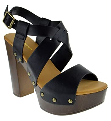 5ce2443b8c0 Bamboo Juliana 22 Womens Open Toe Chunky Heel Faux Wood Platform Sandals  Black Burnish 5.5