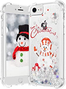 VEGO Christmas Case for iPhone 6 6s 7 8, iPhone SE 2020 Case, Glitter Liquid Sparkle Floating Bling Snowman Pattern Cute Children Girls Women Gifts Case for iPhone 6/6s/7/8/SE 2020 4.7 inch (Snowman)