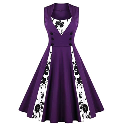 Oriention Womens Sleeveless Vintage Retro 1950s Inspired Button Swing Evening Dress Rockabilly Pinup Bridesmaid Cocktail Gowns