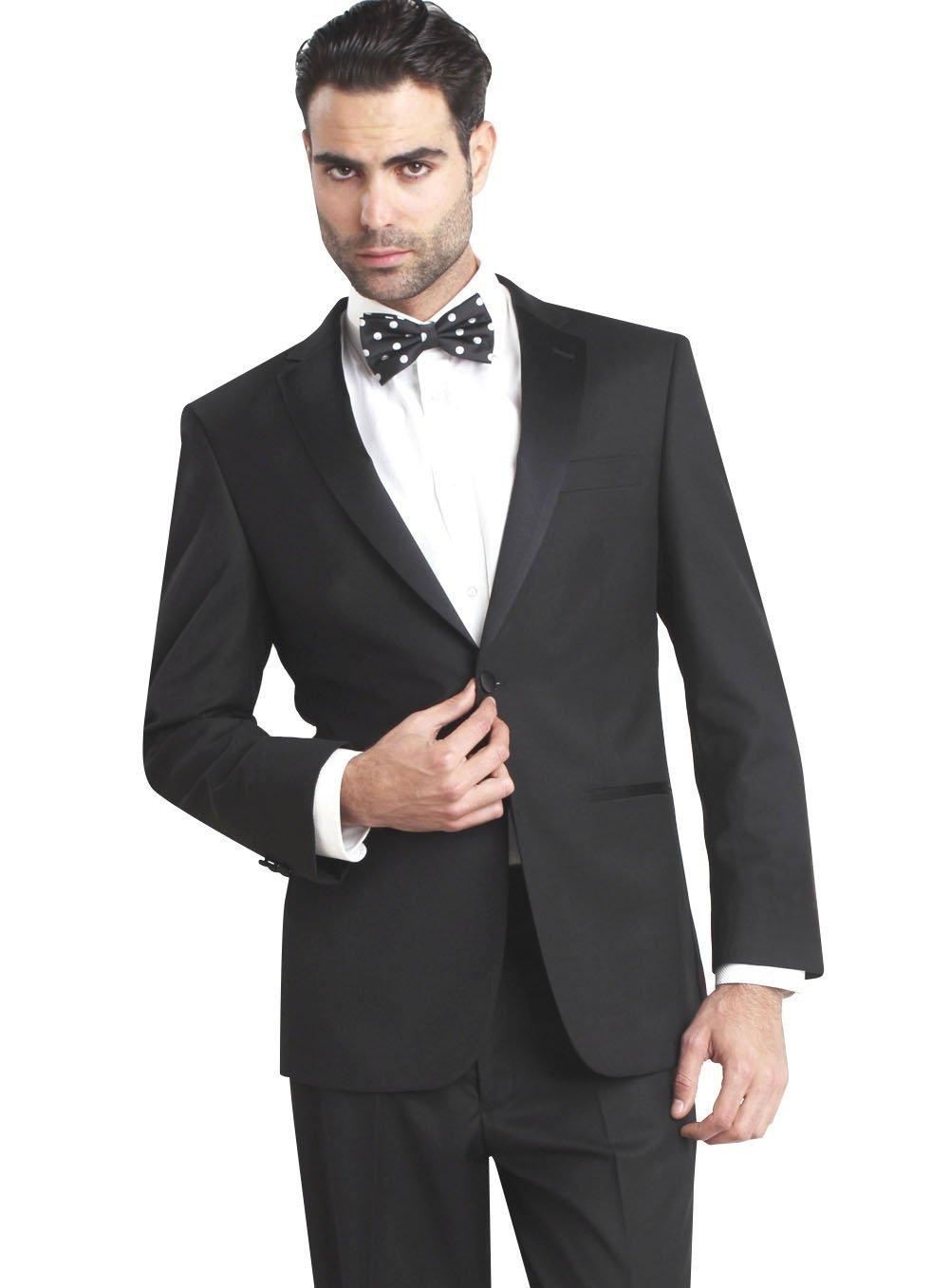 Giorgio Fiorelli Mens 2 Button Tuxedo Suit Modern Fit Black Black 38R