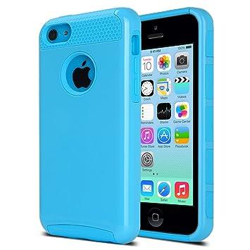 ULAK Carcasa iPhone 5c, Funda doble capa del silicona de alta resistencia del Carcasa de Shell para el iPhone 5c con Protector de pantalla (azul + ...