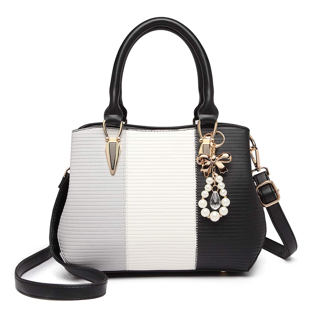 Women Designer Top Handle Bag Fashion Colour Block Shoulder Bag with Pearl and Crystal Style Drop