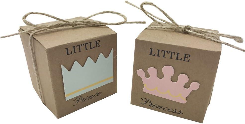 amajoy 50pcs Little Princess Baby Shower Kraft Favor cajas con lazo, 50pcs cordel rústico Kraft Candy caja para cumpleaños Decoration- con Favor de el principito caja como opción, Rosa/Azul: Amazon.es: Hogar