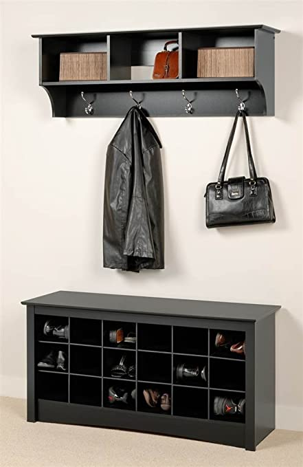 Amazon Com Prepac Entryway Wall Mount Coat Rack W Shoe Storage