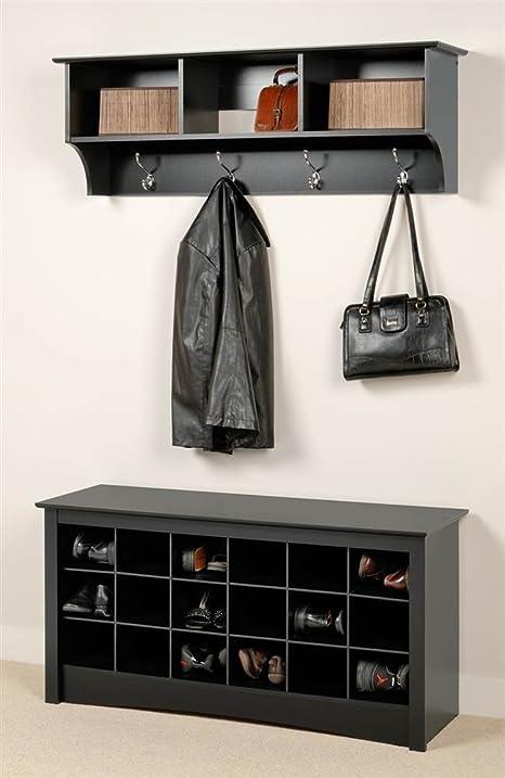 Wonderful Entryway Wall Mount Coat Rack W Shoe Storage Bench In Black