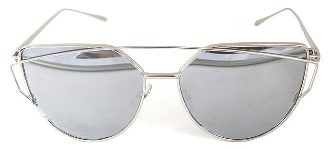 Mujeres de la Manera del ojo de gato Gafas de sol Clásicas Marca con Twin-Vigas de sol Señora capa de Espejo de Panel Plano Vidrios de la Lente