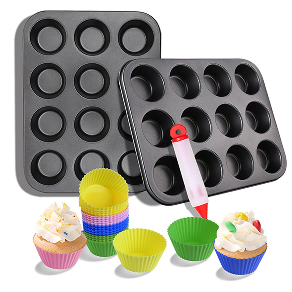 2 Nonstick Cupcake Muffin Pan 24 Reusable Silicone Cupcake Baking Cups Cake decorating Supplies Bakeware Set