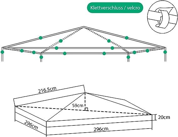 Sekey Toldo para Gazebo/Plegable Tienda de campaña/Tienda al Aire Libre,Taupe, Revestimiento Impermeable, con ventilación, 2.96 x 2.96 m